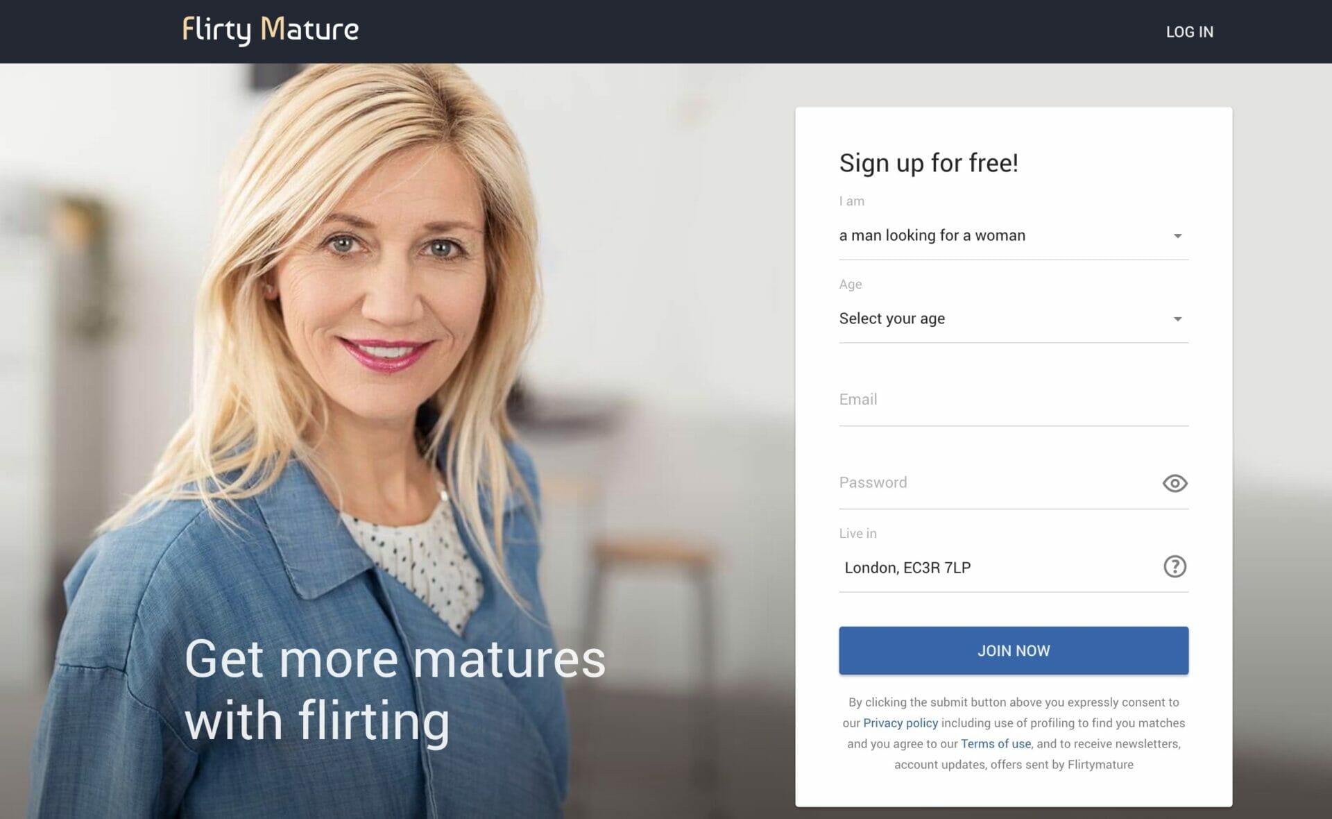 FlirtyMatures main page
