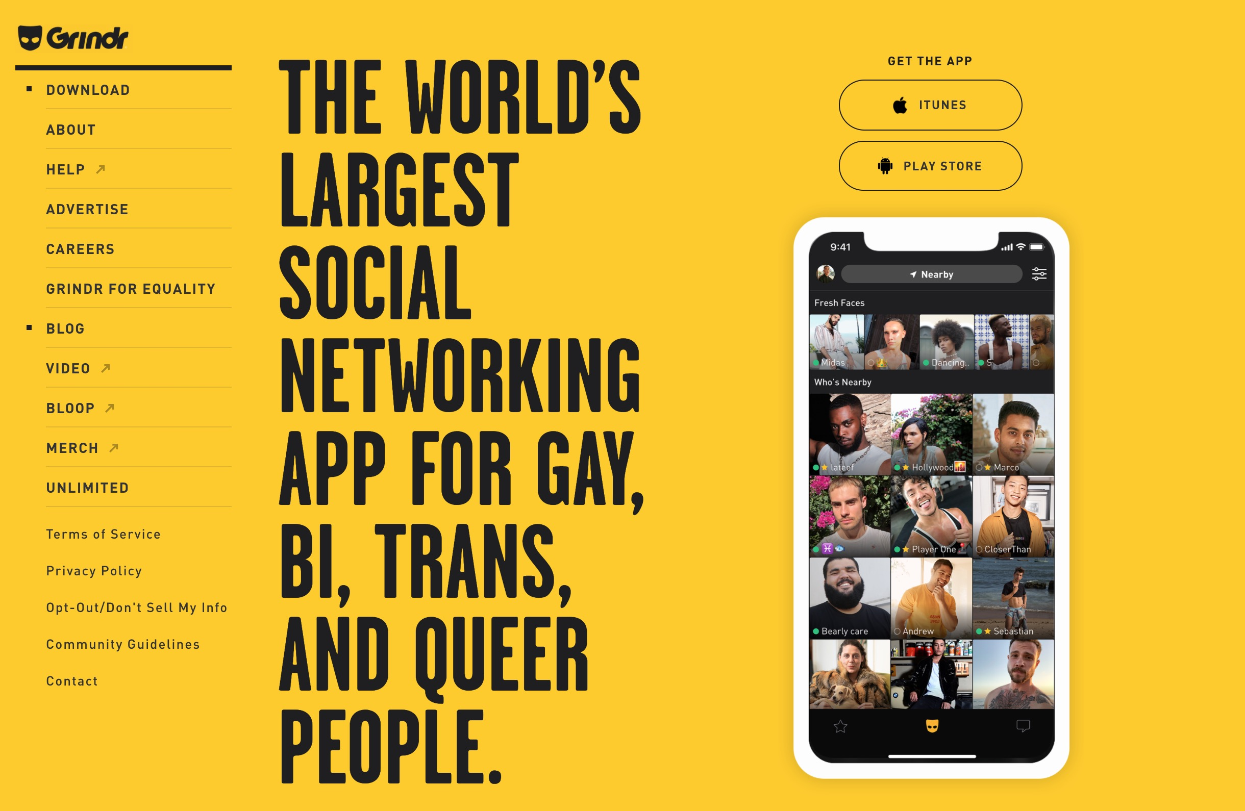 Grindr main page